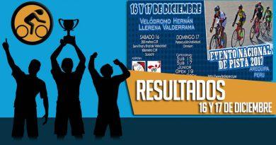 RESULTADOS: Evento Nacional de Pista 2017 (16 y 17-12-2017)