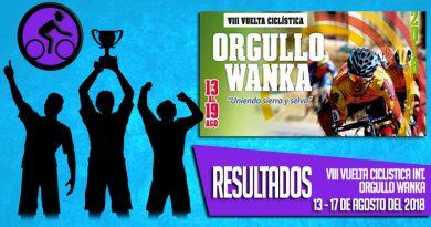RESULTADOS: VIII VUELTA CICLISTICA INT. ORGULLO WANKA (13 AL 17/08/2018)